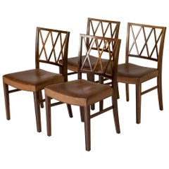 Set of Four Rosewood Armchairs by Ole Wanscher for Slagelse Møbelværk, Denmark