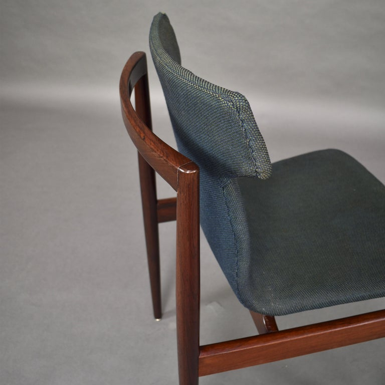 Set of Four Rosewood Dining Chairs by Inger Klingenberg for Fristho, circa 1960 For Sale 9