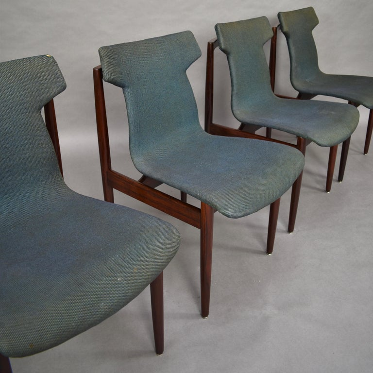 Scandinavian Modern Set of Four Rosewood Dining Chairs by Inger Klingenberg for Fristho, circa 1960 For Sale
