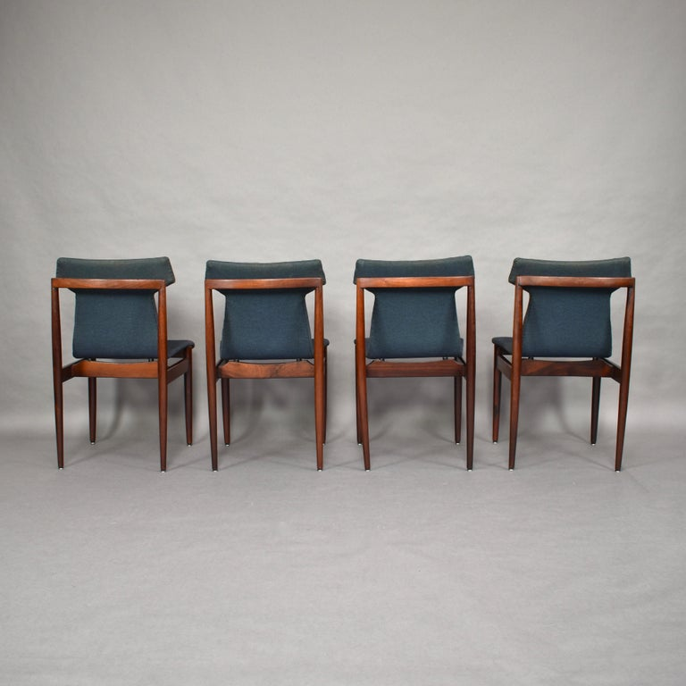 Dutch Set of Four Rosewood Dining Chairs by Inger Klingenberg for Fristho, circa 1960 For Sale