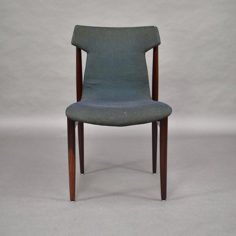Set of Four Rosewood Dining Chairs by Inger Klingenberg for Fristho, circa 1960 In Fair Condition For Sale In Pijnacker, Zuid-Holland