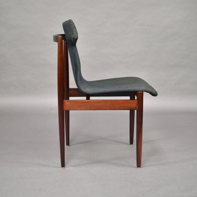 Fabric Set of Four Rosewood Dining Chairs by Inger Klingenberg for Fristho, circa 1960 For Sale