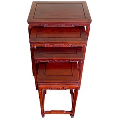 Set of Four Rosewood Nesting Tables, China, Midcentury