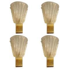 Set of Four Rugiodoso Murano Glass Sconces