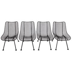 "Set of Four Russell Woodard Black ""Sculptura"" Lanai Chairs, 1950s"