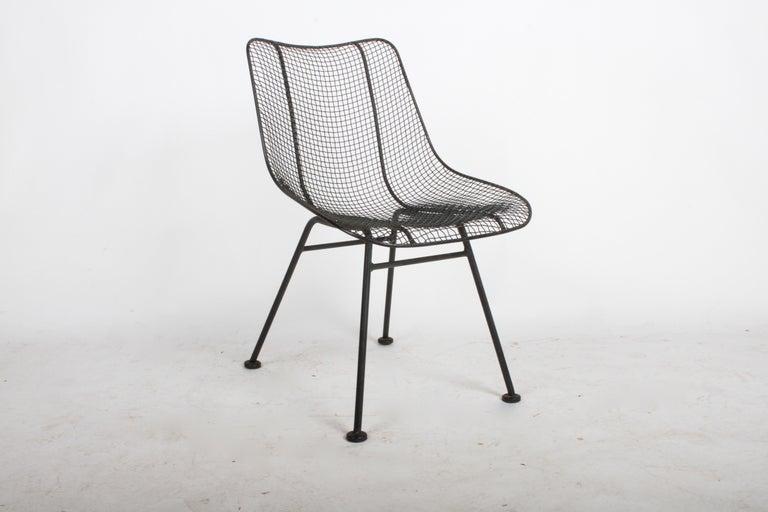 Mid-Century Modern Set of Four Russell Woodard Sculptura Mesh Dining Side Chairs For Sale