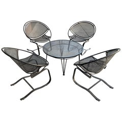 Set of Four Salterini Radar Lounge Chairs and Coffee Table