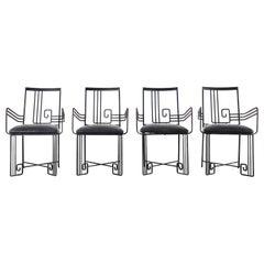 Set of Four Salterini Style Greek Key Garden Patio Chairs