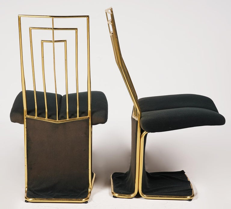 Hollywood Regency Set of Four Saporiti Style Italian Brass and Velvet Pads Dining Chairs, 20th C