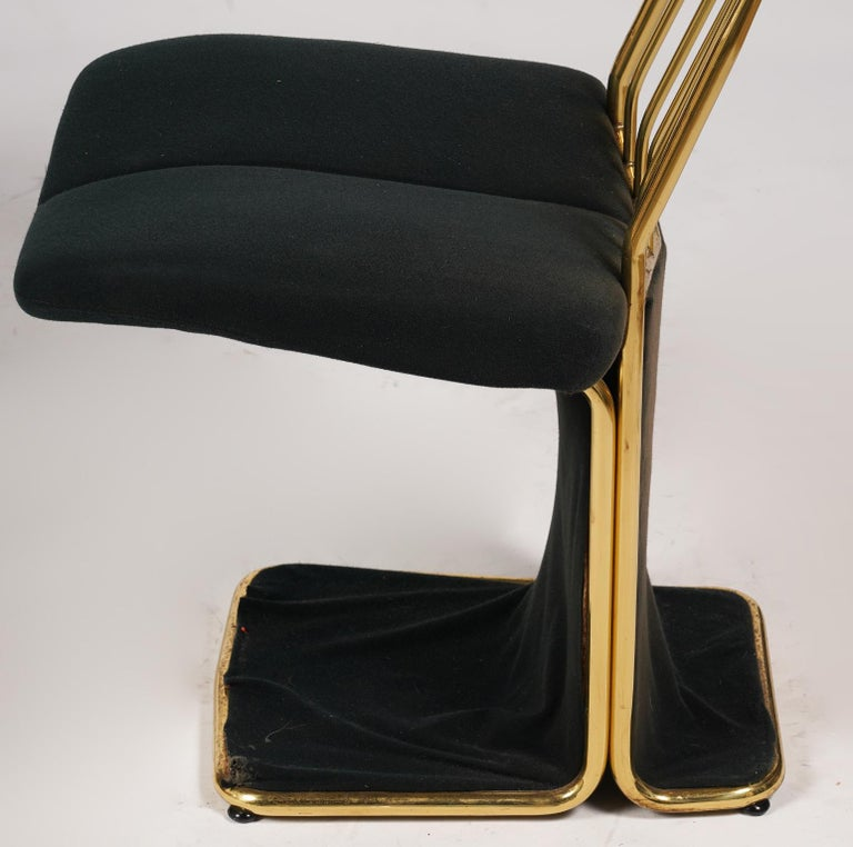 20th Century Set of Four Saporiti Style Italian Brass and Velvet Pads Dining Chairs, 20th C