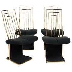 Set of Four Saporiti Style Italian Brass and Velvet Pads Dining Chairs, 20th C