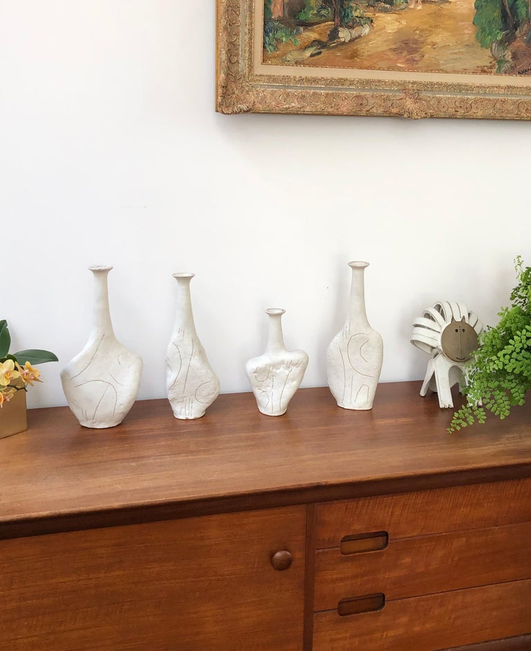 Primitive Set of Four Sassi 'Grès' Vases by Bruno Gambone, circa 1980s For Sale