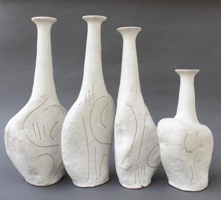Italian Set of Four Sassi 'Grès' Vases by Bruno Gambone, circa 1980s For Sale