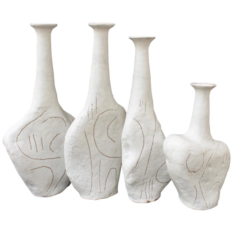 Set of Four Sassi 'Grès' Vases by Bruno Gambone, circa 1980s For Sale