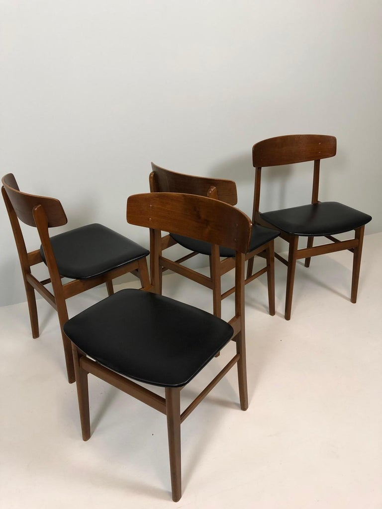 Mid-Century Modern Set of Four Sax Denmark Teak Dinning Chairs, 1960 For Sale