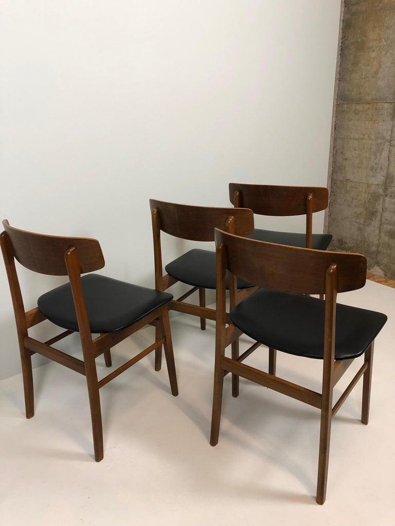 Danish Set of Four Sax Denmark Teak Dinning Chairs, 1960 For Sale