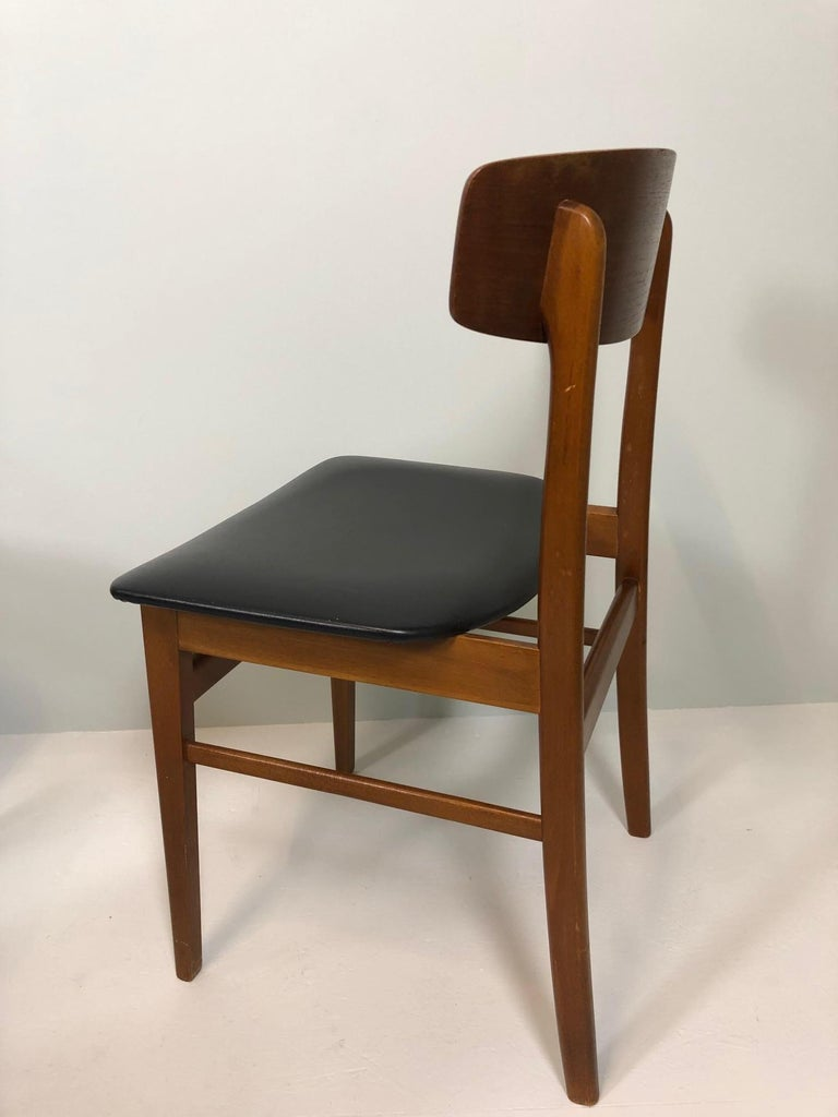 Faux Leather Set of Four Sax Denmark Teak Dinning Chairs, 1960 For Sale