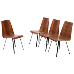 Set of Four Scandinaviam Hardwood Dining Chairs