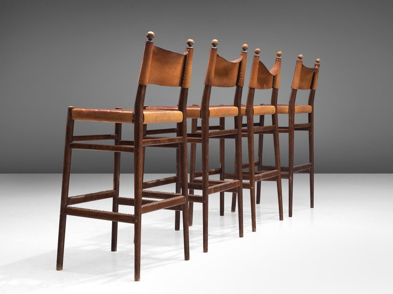 Set of Four Scandinavian Barstools in Patinated Cognac Leather For Sale 2