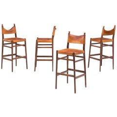 Set of Four Scandinavian Barstools in Patinated Cognac Leather
