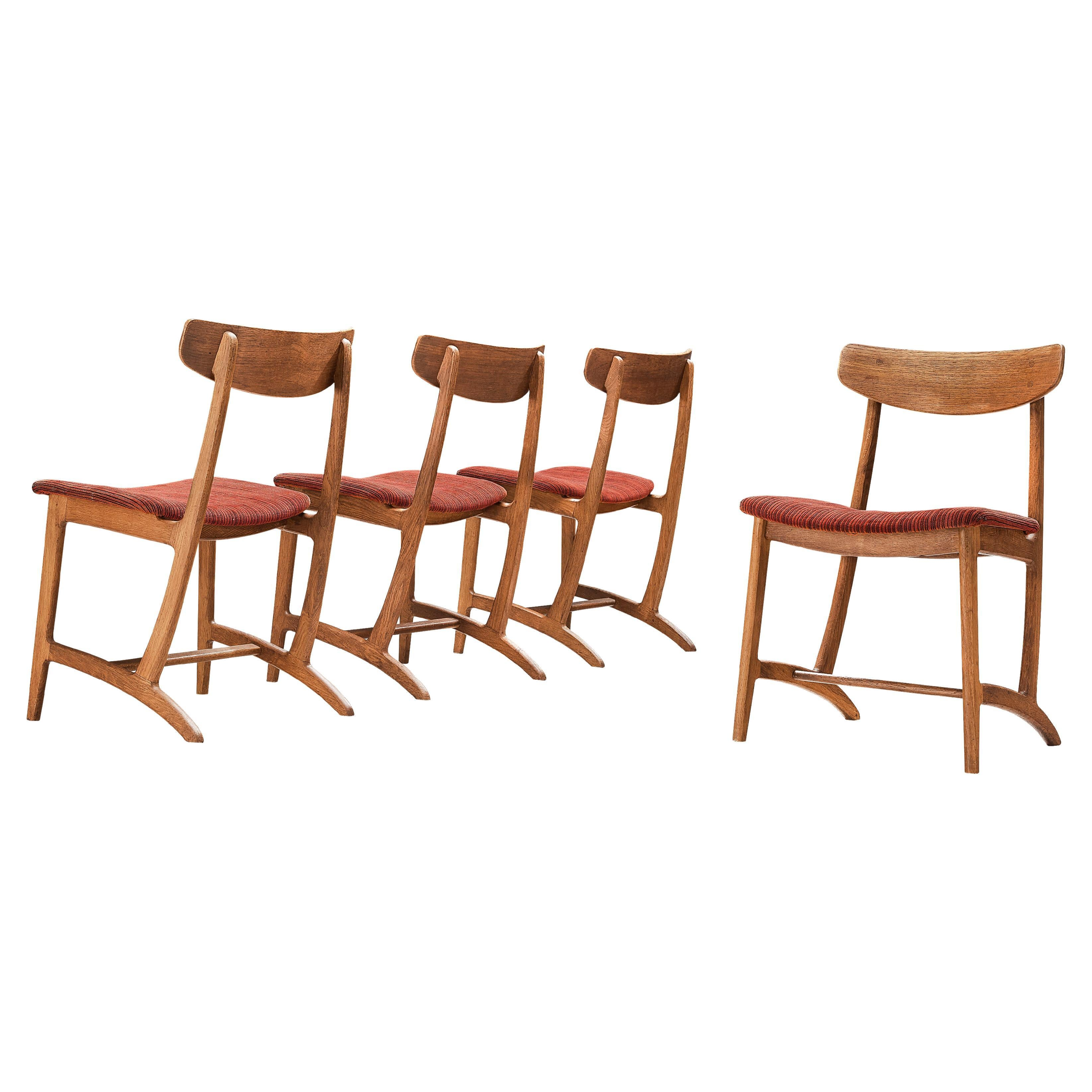 Illum Wikkelsø for Bordum & Nielsen Set of Four Dining Chairs Model 55