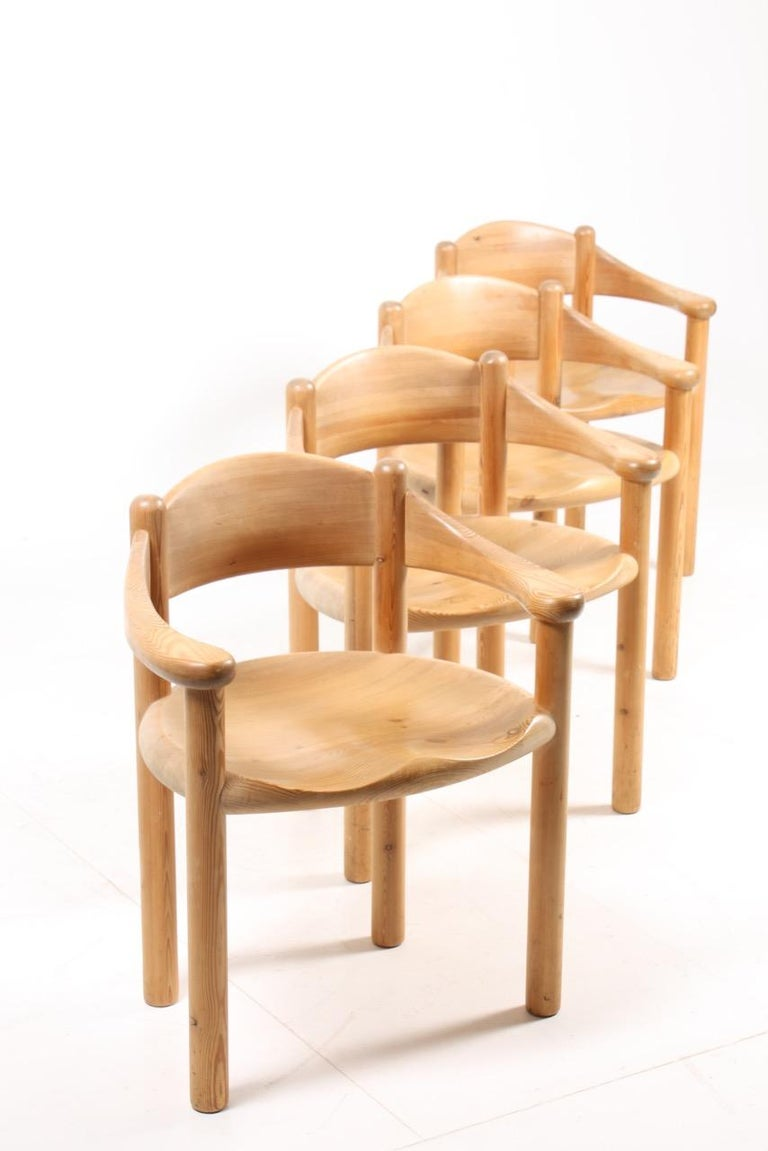 Set of four dining chairs in solid pine. Designed by Rainer Daumiller and made by Hirtshals Savaerk in Denmark. Great original condition.