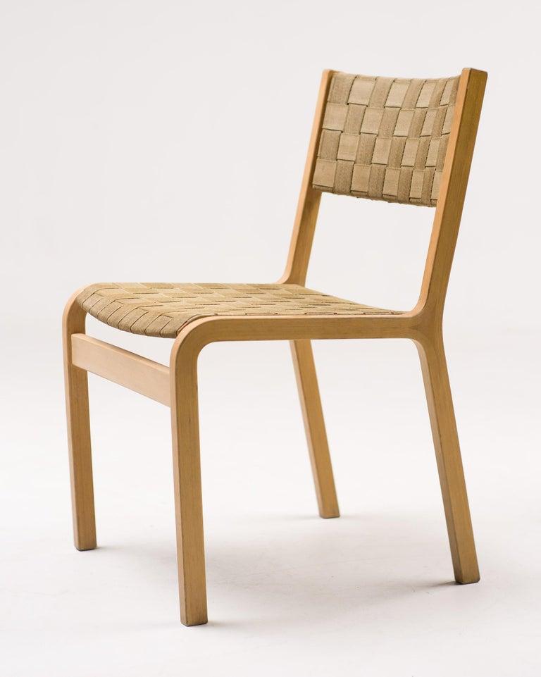 Scandinavian Modern Set of Four Scandinavian Woven Canvas Strap Dining Chairs For Sale