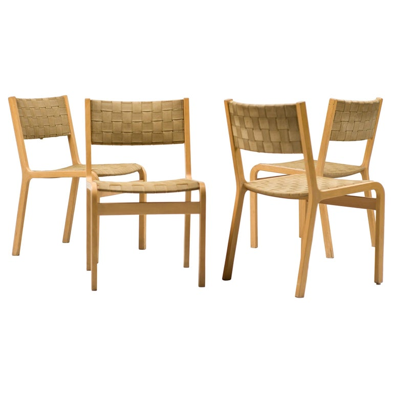 Set of Four Scandinavian Woven Canvas Strap Dining Chairs For Sale