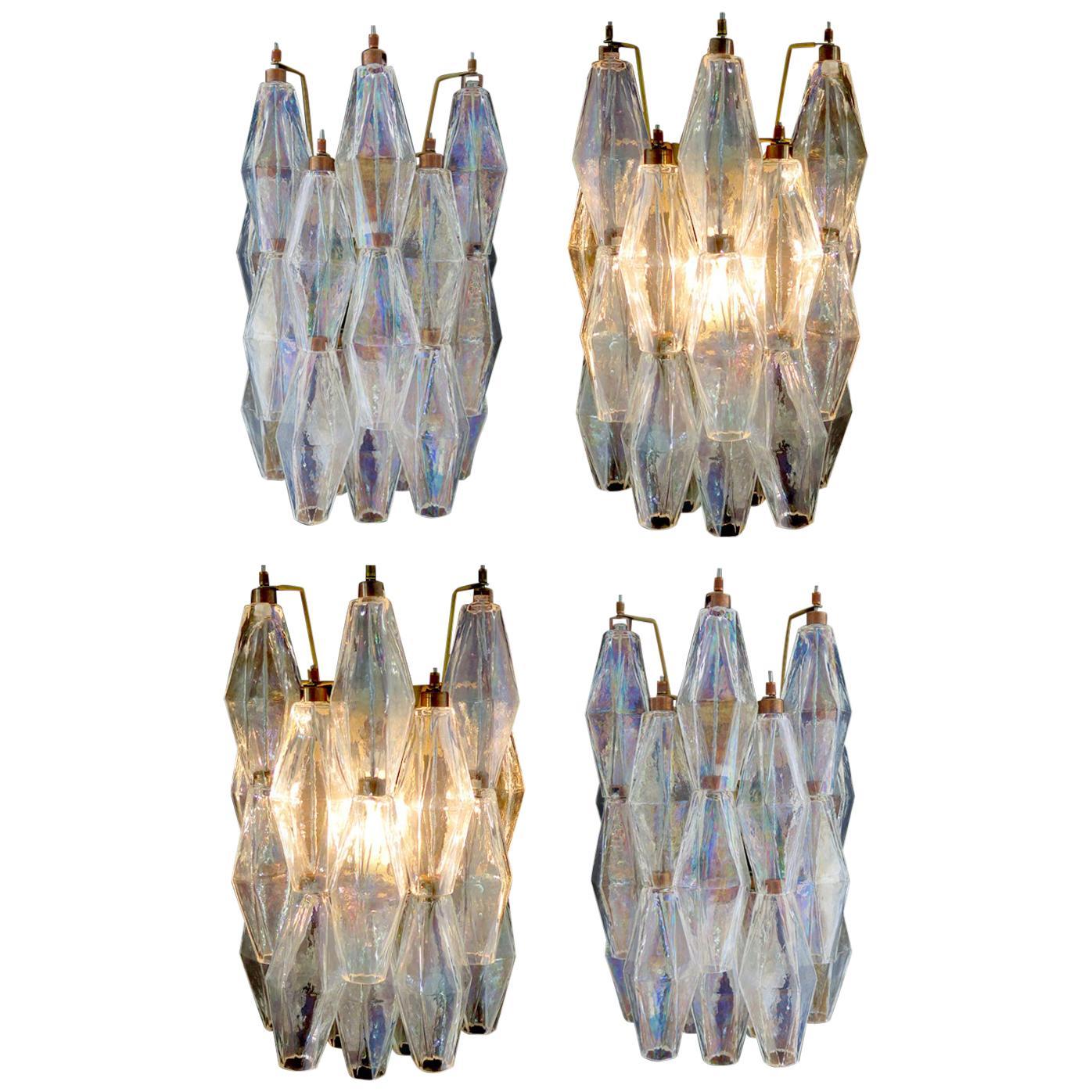 """Set of Four Sconces Iridescent Glass """"Poliedri"""", Murano, 1970s"""