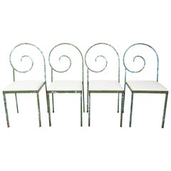 Set of Four Scroll Back Garden Chairs