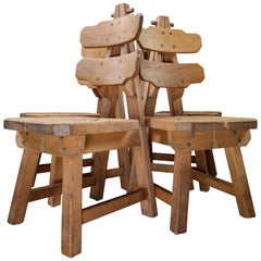 Set of Four Sculptural Chairs in Oak, France, 1960s