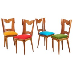 Set of Four Sculptural Chairs, Italy, 1950s
