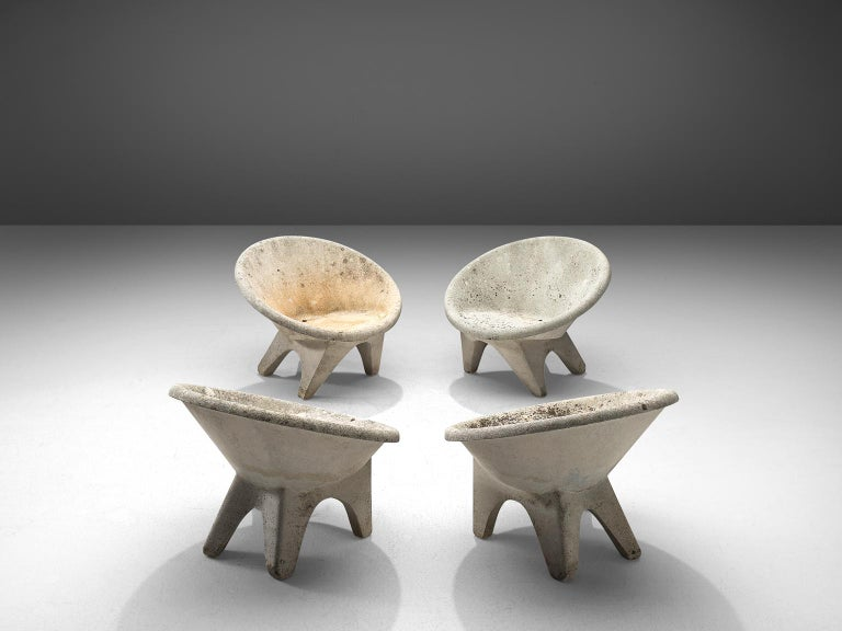 Set of 4 outdoor chairs, concrete, Europe, 1970s.