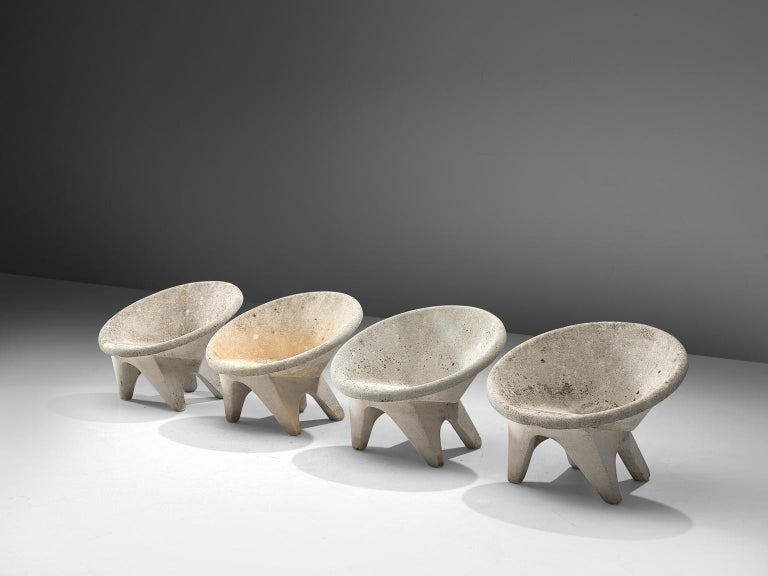 Mid-Century Modern Set of Four Sculptural Lounge Chairs in Concrete For Sale