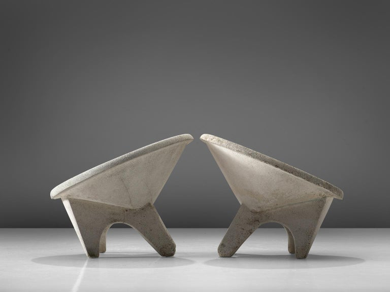 European Set of Four Sculptural Lounge Chairs in Concrete For Sale