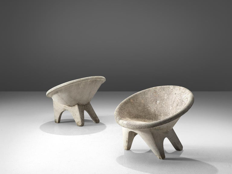 Set of Four Sculptural Lounge Chairs in Concrete In Good Condition For Sale In Waalwijk, NL