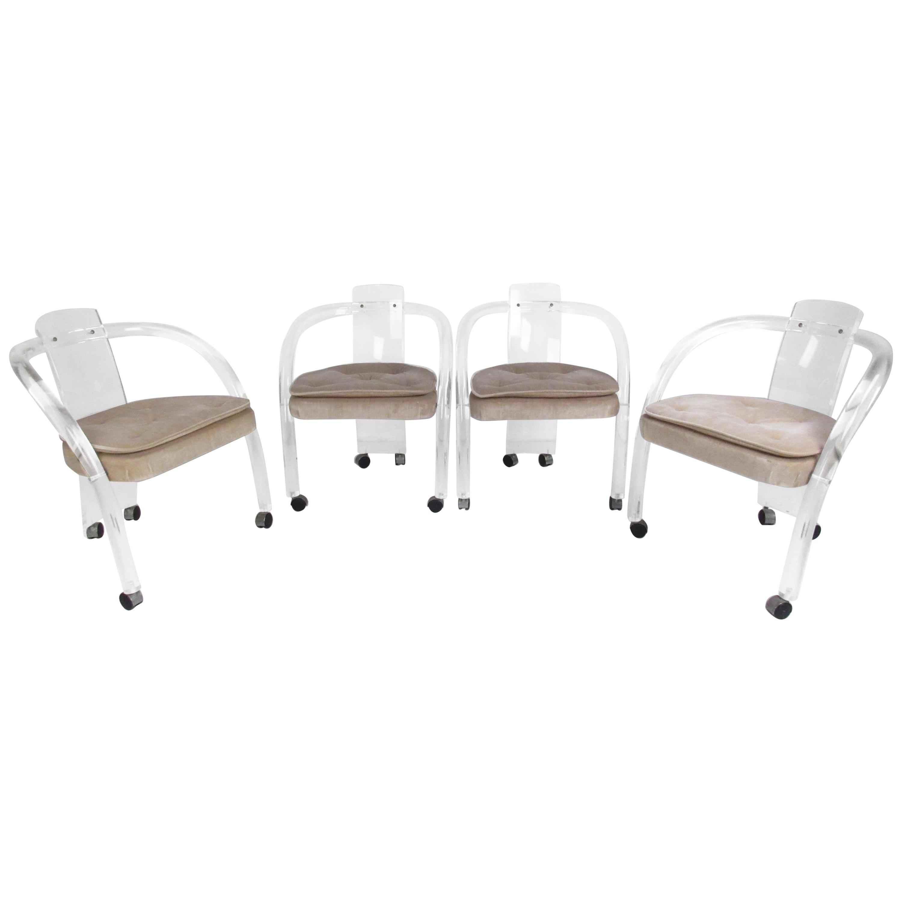 Set of Four Sculptural Midcentury Lucite Dining Chairs by Hill Manufacturing