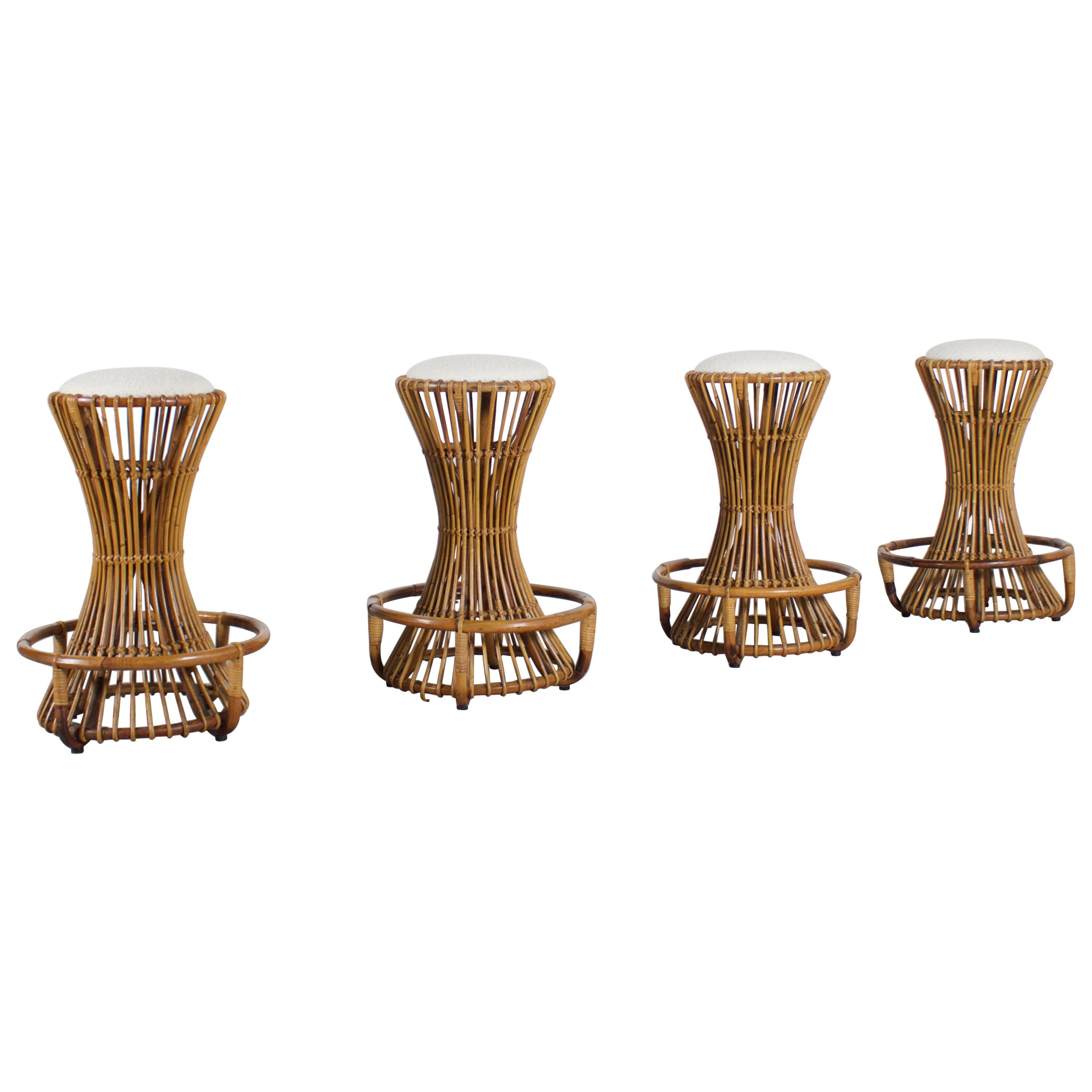 Set of Four Sculptural Rattan Bar Stools by Tito Agnoli for Bonacina, Italy
