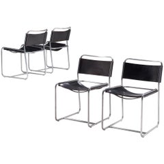 Set of Four 'SE18' Chairs with Black Leather for 't Spectrum, 1970s