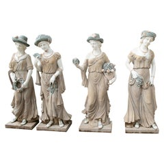 Set of Four Seasons Hand Carved in White and Green Marble and Brown Limestone