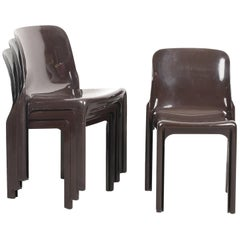 Set of Four Selene Chairs Brown by Vico Magistretti for Artemide, Italy, 1960s