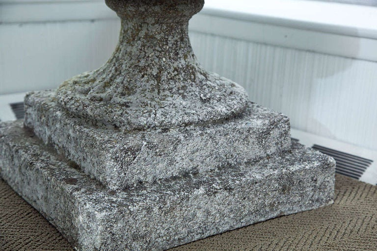 Set of Four Semi Lobed Cement Urns For Sale 4