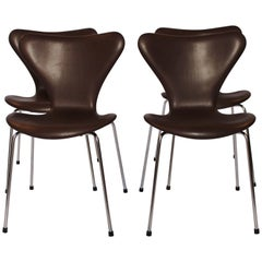 Set of Four Series 7 Chairs, Model 3107, by Arne Jacobsen and Fritz Hansen, 1967