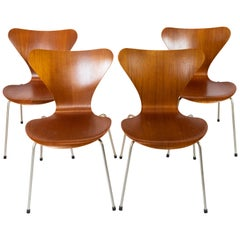 Set of Four Seven Chairs, Model 3107, Teak, by Arne Jacobsen and Fritz Hansen