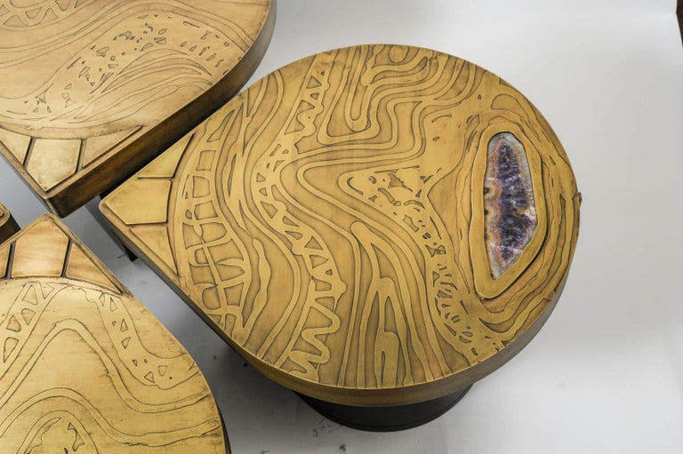 Set of Four Side Etched Brass Tables Attributed to Georges Mathias In Excellent Condition For Sale In Bois-Colombes, FR