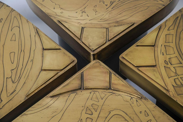 Set of Four Side Etched Brass Tables Attributed to Georges Mathias For Sale 3