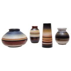 Set of Four Signed Spanish Ceramic Colored Vases by Serra, circa 1960