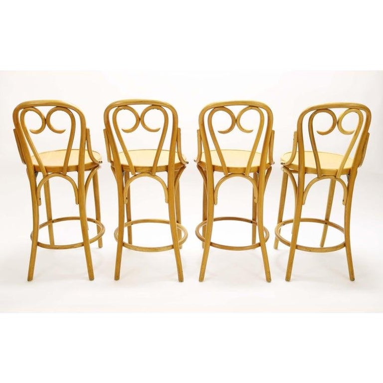 Set of Four Signed Thonet Bentwood Bar Stools In Good Condition In Denver, CO