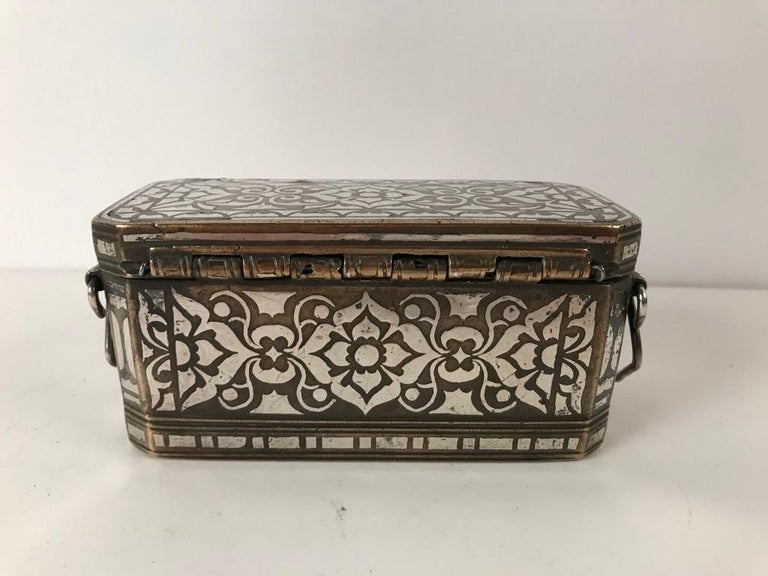 Set of Four Silver and Bronze Inlaid Betel Nut Boxes For Sale 3