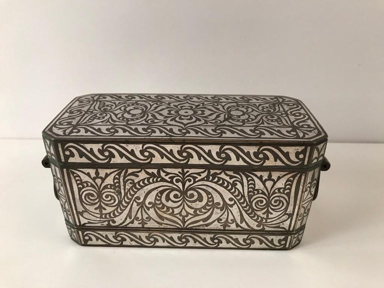 Set of Four Silver and Bronze Inlaid Betel Nut Boxes For Sale 5